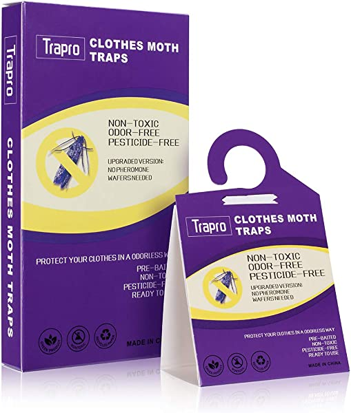 Faicuk Clothes Moth Traps With Pheromone Attractant For Carpet And Closet Pack Of 6
