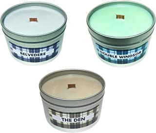 Manly Pack Scented Candles (Belvedere, Double Windsor, The Den) Whiskey Cigar Leather Pepper Clove Cologne Great Gift for Husband Boyfriend Dad, 3 Pack