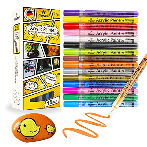 Rotuladores acrílicos, 15 lápices mágicos de colores para piedras, marcadores permanentes de 0,7 mm, para lienzo resistente al agua, para diseño escolar, manga, álbumes de fotos y bodas (15 colores)