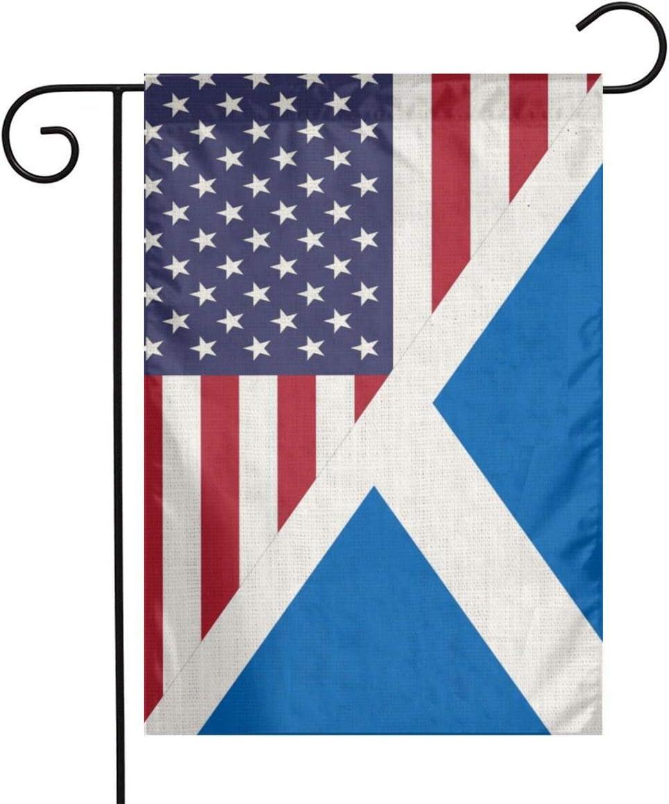 YANGHOME Half Scottish Half and American Flag Combo Flax Nylon Burlap Linen Fabric Garden Flag Farmhouse Decorations Mailbox Decor Welcome Sign 12x18 Inch Small Mini Size Double Sided
