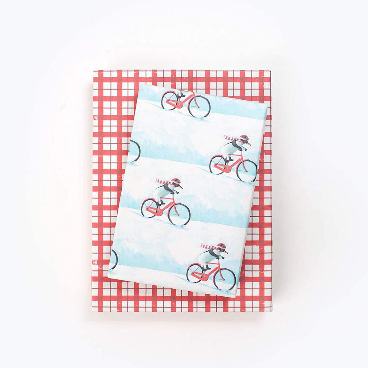 City Christmas Penguin Dashing Through Snow - Reversible Holiday Wrapping Paper - Eco Gift Wrap Allport Editions x Wrappily
