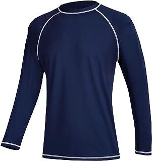 Men`s Long Sleeve Swim Shirts Rashguard UPF 50+ UV Sun Protection Shirt Athletic Workout Running Hiking T-Shirt Swimwear