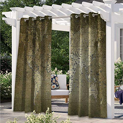 Indoor/Outdoor Curtains Old World Map with Great Texture Nostalgic Ancient Plan Atlas Trace of Life World Print Outdoor Privacy Porch Curtains for Privacy in Your Porch Khaki Beige W120 x L96 Inch