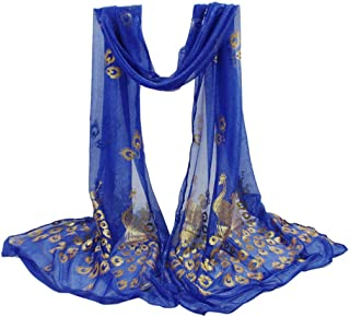 Hatoys Peacock Scarf Multi-Color Long Soft Wrap Shawl Stole Pashmina Lightweight Scarf for Women