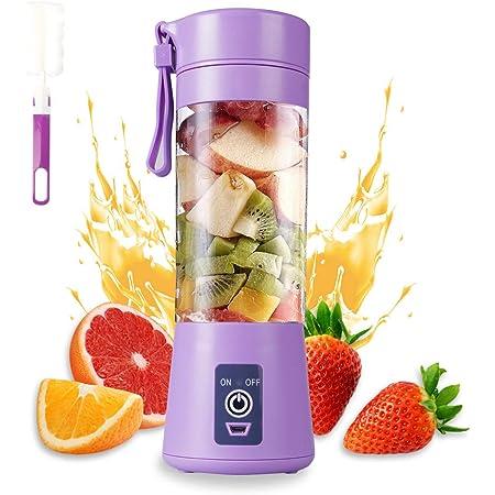 Blender portable,électrique Mixeur Smoothie,Mini Blender Mélangeur Pour Smoothie, Mixeur de Fruits Portable 380 ml, 6 Lames 3D, Batterie Rechargeable USB 2000 mAh(Violet clair)