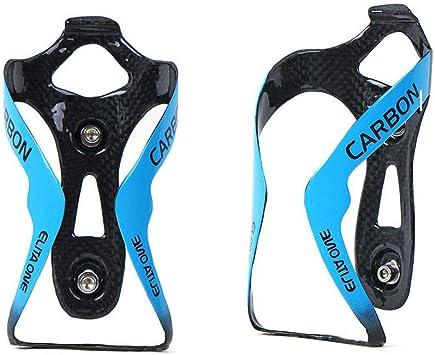 QIKU Carbon Portabidones - 3K Carbono Bicicleta Portabidones Azul