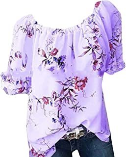 MK988 Women Plus Size Short Sleeve Cotton Floral Print Casual T-Shirt Blouse T-Shirt Top
