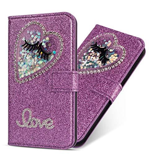 Miagon Hülle Glitzer für Samsung Galaxy A50,Luxus Diamant Strass Herz PU Leder Handyhülle Ständer Funktion Schutzhülle Brieftasche Cover,Lila