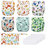 Reusable Nappies, Exqline Reusable Washable Baby Pocket Cloth Nappy Diapers, 6PCS Adjustable Nappies