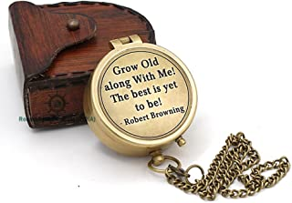 Roorkee Instruments India Directional Compass Robert Browning Quote Engraved with Stamped Leather Case for Camping, Hiking, Touring