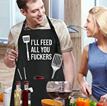 LACOMA Cooking Apron - I'll Feed All You Fuckers - Funny Aprons for Men Women Chef, Adjustable Bib Apron with 3 Pockets an...