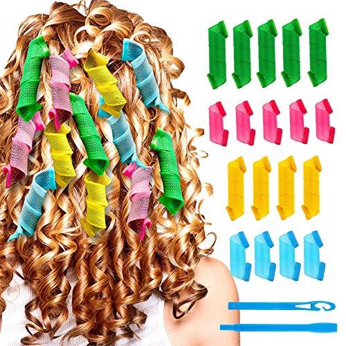 Lockenwickler Curler,Manuelle Lockenwickler,Lockenwickler Rollen,Heatless Lockenwickler,DIY Magic Hair Curlers mit Styling-Haken für den Heimgebrauch 18 Stück Lockenwickler Set