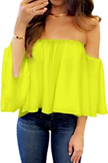 724b6ae38af256 Women s Summer Off Shoulder Blouses Short Sleeves Sexy Tops Chiffon Ruffles  Casual T Shirt