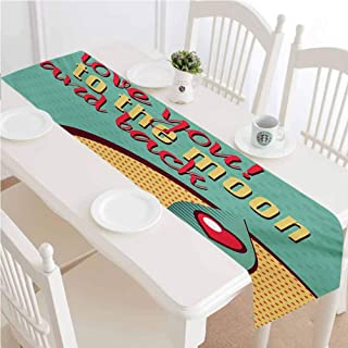 LCGGDB I Love You Table Runner Dresser Scarf,Rocket Flying to The Space with Love Fuel Cosmic Journey Illustration Dining Room Rectangular Runner,16x96 Inch,for Special Occasions or Dinner Parties