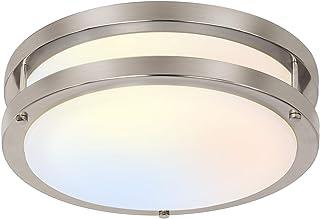 10 inch Flush Mount LED Ceiling Light Fixture, 17W [120W Equiv.] 1100lm, 3000K/4000K/5000K Adjustable Ceiling Lights, Brus...