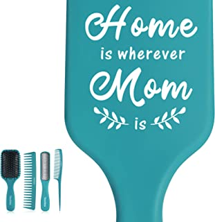 Birthday Gifts for Mom - Home is Wherever Mom is - Mom Gifts from Daughter Son Husband Mommy Hair Brush Gift Set for Chris...