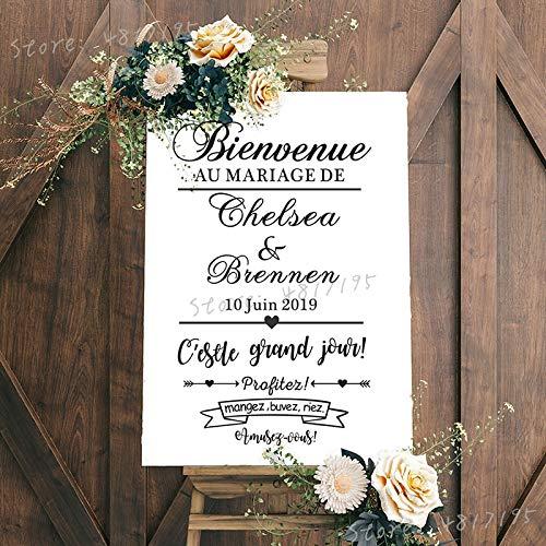 Geiqianjiumai Bruiloftsgenot en plezier Franse kunst vinyl stickers aangepaste naam spiegel bruiloft bal decoratie muurschildering