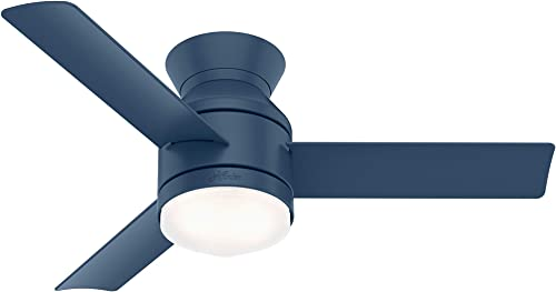 """popular Hunter Dublin Low Profile 2021 Indoor Ceiling Fan discount with LED Light and Remote Control, 44"""", Indigo Blue online"""