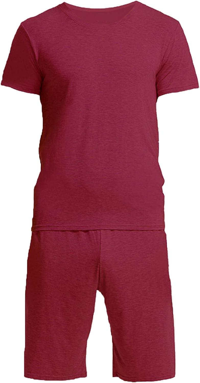 Men'S Sleeve Cotton Shirt And Pants Pajamas Pjs Sleepwear Lounge Set Wine Red Xxxl