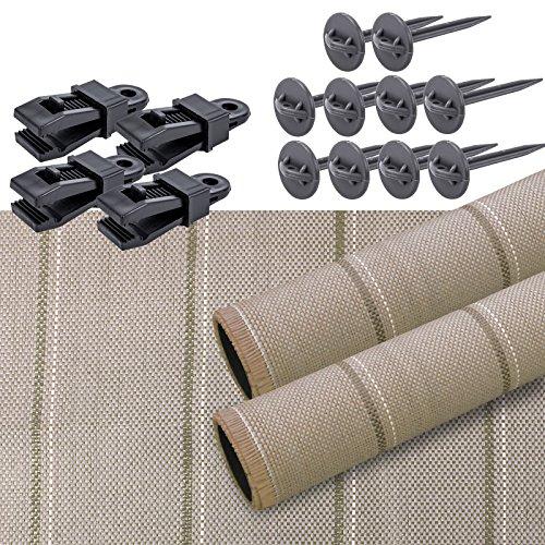 Arisol Lot de tapis pour auvent Marron 250 x 600 cm Avec clips et sardines pour caravane et camping-car