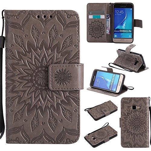 Nutbro Galaxy Amp 2, Galaxy Express 3, custodia protettiva in pelle PU con scomparti per carte di credito, per Samsung Galaxy J1 2016 / Amp 2 / Express 3