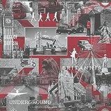 Muriva 102509 - Papel para Pared con diseño de imágenes de Londres (10,05 m x 53 cm), Color Rojo y Negro