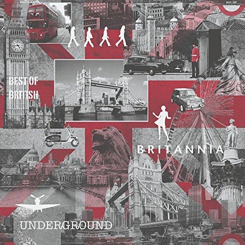 Muriva - Papier Peint Noir Blanc Rouge Motif Britannia Londres 102509