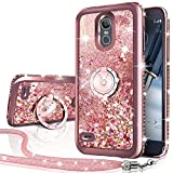 LG Stylo 3 Case,LG Stylo 3 Plus Case,Stylus 3 Case, Silverback Moving Liquid Holographic Sparkle Glitter Case with Ring, Girls Women Bling Diamond Rhinestone Bumper, Protective Case for LG LS777-RD