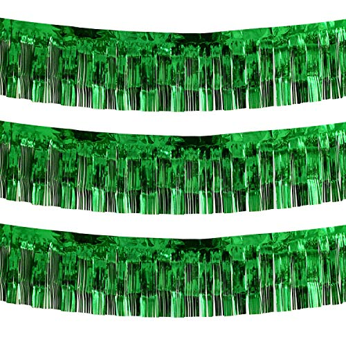 10 Feet Long Green Parade Floats Skirting Decorations- Pack of 3 | Metallic Foil Fringe Garland | Ideal for Parade Floats, Bridal Shower, Bachelorette, Wedding, Birthday | Wall Hanging Tassle Banner