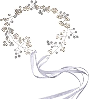 Amosfun Pearl Crystal Headband Handmade Bridal Headpiece Garland for Wedding (Silver)