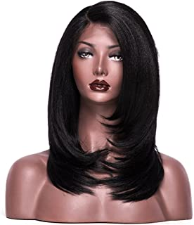 Colodo Lace Front Synthetic Wigs for Women L Part Yaki Straight 18 Inches
