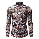 Camisa Estampada con Bloqueo de Color de Personalidad para Hombre, Moda étnica, Tendencia Retro, Ropa de Calle, Camisas Casuales de Manga Larga 3XL