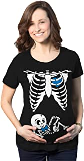 Crazy Dog Tshirts - Maternity Baby Boy Skeleton Cute Halloween Pregnancy Bump Tshirt - Camiseta De Maternidad