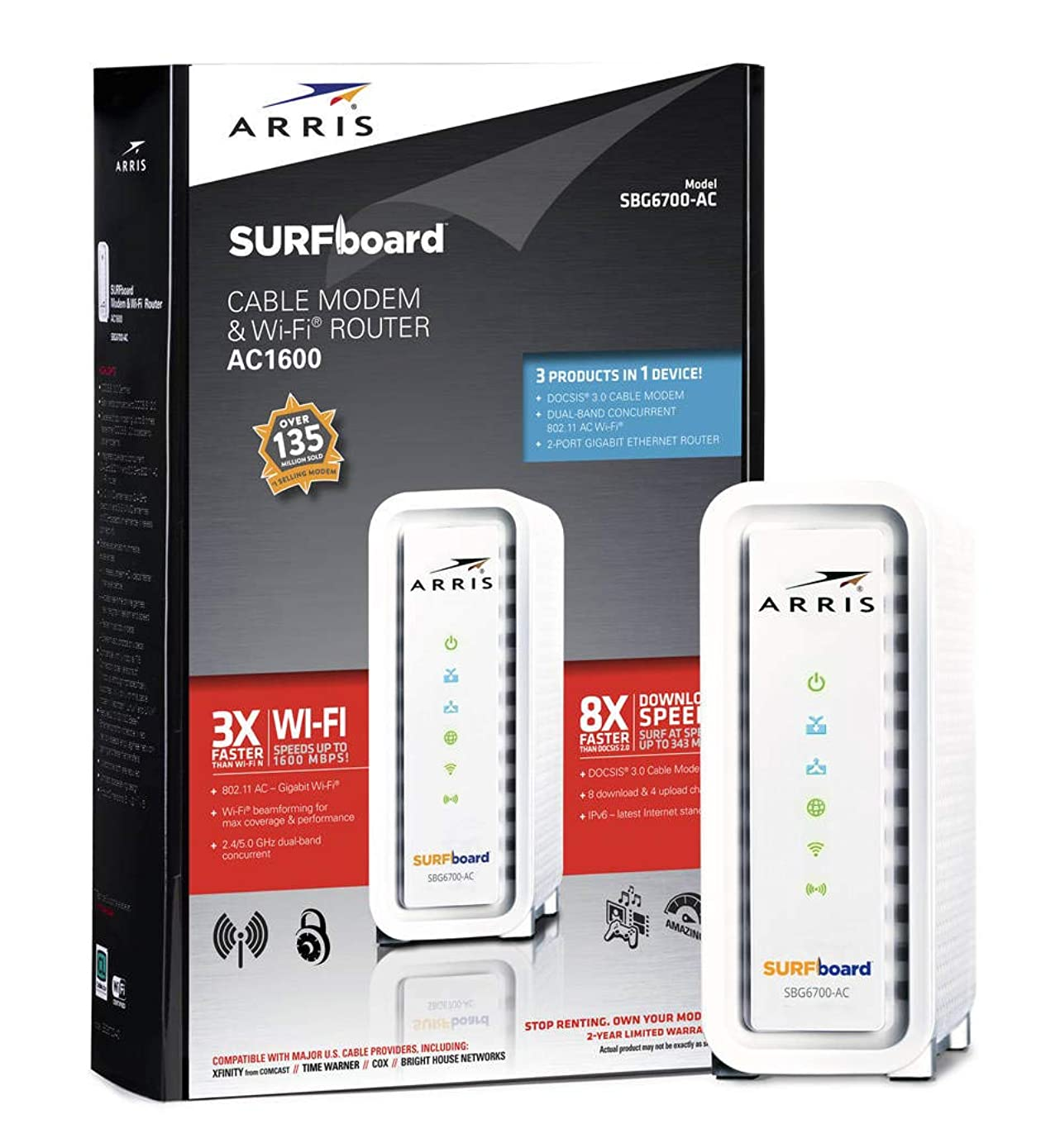 ARRIS SURFboard SBG6700AC DOCSIS 3.0 Cable Modem/ Wi-Fi AC1600 Router - Retail Packaging - White, Model: SBG6700AC, Electronic Store & More