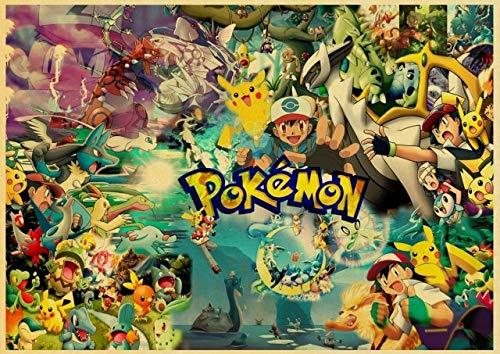H/M Dessin Animé Pokemon Go Pikachu Affiche Rétro Toile Peinture Affiche Murale Art Affiche Famille Enfants Chambre Décoration 40X50 Cm-Cv1271