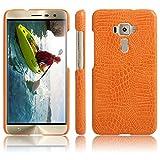 Zenfone 3 ZE552KL - Funda de piel sintética con diseño de piel de cocodrilo (ultrafina), color naranja