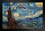 Poster Gießerei UFO-Sichtung auf Einem Starry Night