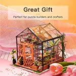 """Rolife DIY Dollhouse Miniatures Craft Kits for Adults (Kathy's Green House) 10 7.7"""" X 6.9"""" X 6.9"""" assembled, recommended age is 14 years or older. TOP GIFT for ADULTS AND KIDS.Ideal Christmas, birthday, or holiday gift for a gardener, hobbyist, or craftsperson. Great for a STEAM related gift too! Create an intricately detailed wooden flower house to capture and preserve the beauty of nature. The time spent building this miniature DIY greenhouse is as enjoyable as it is visually stunning."""