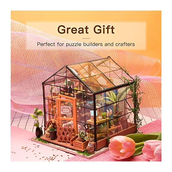 """Rolife DIY Dollhouse Miniatures Craft Kits for Adults (Kathy's Green House) 4 7.7"""" X 6.9"""" X 6.9"""" assembled, recommended age is 14 years or older. TOP GIFT for ADULTS AND KIDS.Ideal Christmas, birthday, or holiday gift for a gardener, hobbyist, or craftsperson. Great for a STEAM related gift too! Create an intricately detailed wooden flower house to capture and preserve the beauty of nature. The time spent building this miniature DIY greenhouse is as enjoyable as it is visually stunning."""