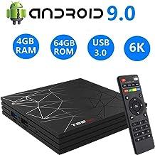HOMI Android TV Box 9.0,T95 MAX 4GB RAM 64GB RAM Chip H6 Quad-Core Cortex-A53 Smart TV Box,Supports 4K 6K Resolution 2.4GHz WiFi 100M LAN Enternet USB 3.0 Mini TV Box