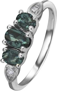 Natural Color Change Alexandrite Diamond Ring in 14KGold