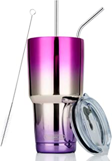 DYNAMIC SE 30oz Tumbler Double Wall Stainless Steel Vacuum Insulated Travel Mug with Splash-Proof Lid Metal Straw and Brush (Fuchsia and Purple, 30oz)
