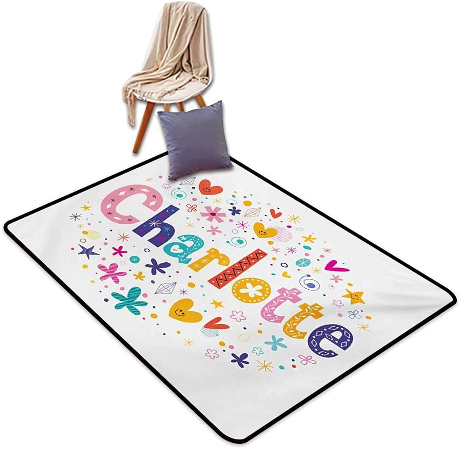 Charlotte Large Outdoor Indoor Rubber Doormat Happy Smiling Stars and Hearts Joyous Composition of colorful Female Name Design Water Absorption, Anti-Skid and Oil Proof 48  Wx59 L Multicolor