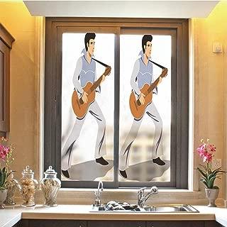 Elvis Presley Decor 3D No Glue Static Decorative Privacy Window Films, Musician Artist Guitar Instrument Rock and Sound Cartoon,17.7