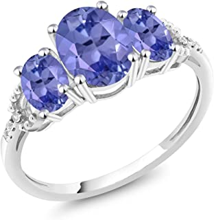 10K White Gold Diamond Accent 3-Stone Engagement Ring set with 2.11 Ct Oval Blue Tanzanite (Available 5,6,7,8,9)