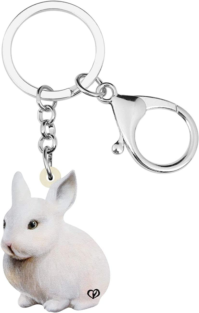 WEVENI JEWELRY WEVENI Acrylic White Easter Hare Rabbit Bunny Keychains Key Ring For Women Girl Car Bag Wallet Charms, 41mm x 31mm