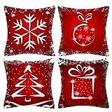 Gobesty Funda de Almohada Merry Christmas, Funda de Almohada de Navidad de 45 * 45 cm Funda de Almohada Decorativa de Lino de algodón Funda de cojín de sofá de Copo de Nieve de Navidad para sofá