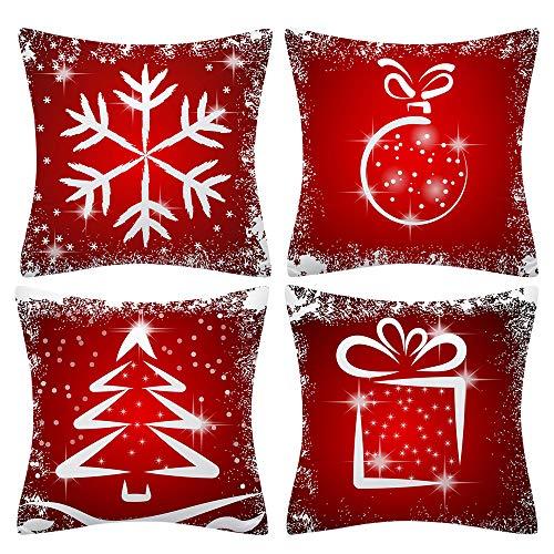 Gobesty Weihnachten Kissenbezug, 4 Stück Dekorative Kissenhülle Winter Schneeflocke Elk Weihnachtsbaum Muster für Weihnachten und Halloween Holiday Sofa Dekoration 45x45 cm