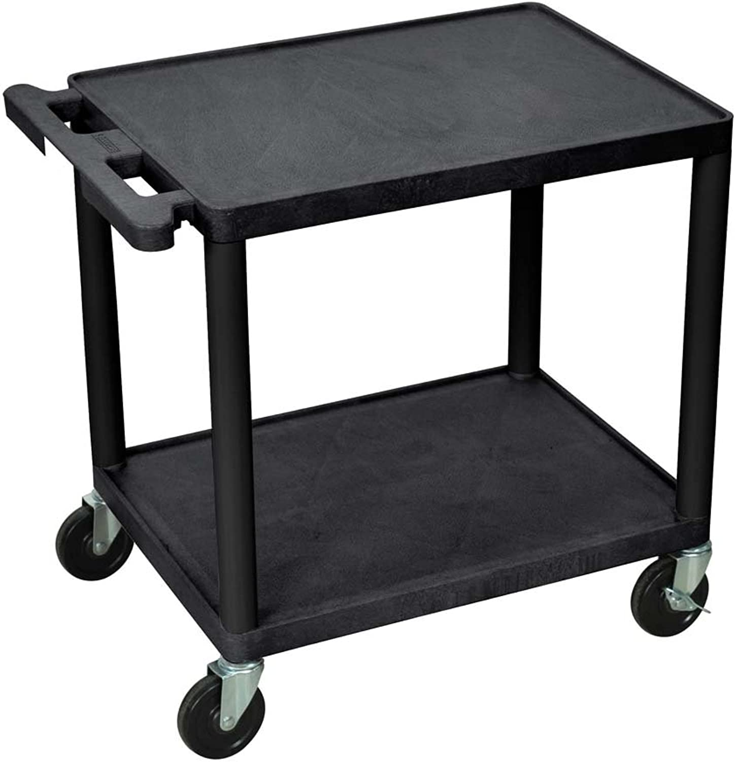Luxor 26 H Multipurpose 2 Shelves Audio Video Utility Cart - Black