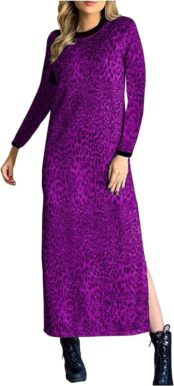 Smooto Maxi Dress Women's Leopard Long Sleeve O-Neck Split Dress Casaul Dress